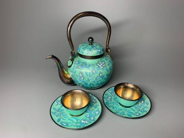 韓国七宝純銀製茶器